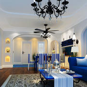 别墅简约风格蓝色系客厅背景墙装饰