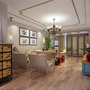 三室一厅简约风格客厅原木地板装饰