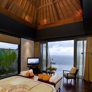 东南亚风格海景房卧室原木吊顶装饰