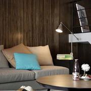 跃层简约风格原木背景墙效果图