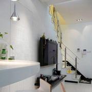 跃层后现代风格客厅电视背景墙
