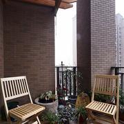 中式简约风格阳台原木吊顶装饰