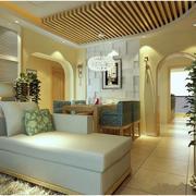 韩式简约风格客厅样板房密集式吊顶装饰