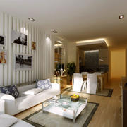 现代简约风格室内沙发石膏板背景墙装饰