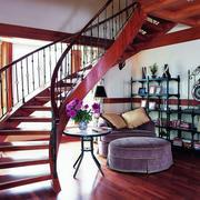 美式简约风格原木楼梯样板房装饰