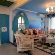 地中海风格简约客厅地板装饰