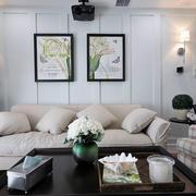 后现代风格复式楼简约客厅沙发装饰