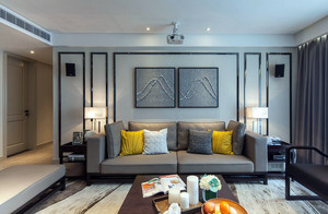 公寓简约风格客厅沙发背景墙