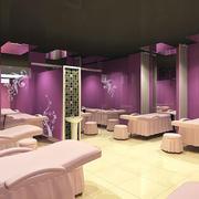 美容院简约风格紫色系背景墙效果图