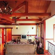 美式简约风格样板房原木吊顶装饰