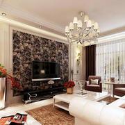 后现代风格深色系客厅电视背景墙