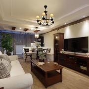 美式原木系客厅电视柜装饰