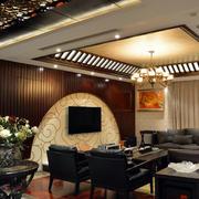 后现代风格原木客厅吊顶装饰