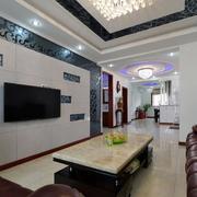 三室一厅后现代风格客厅吊顶装饰