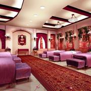 美容院简约风格粉色系背景墙装饰