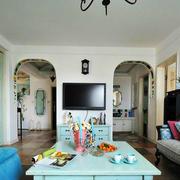 地中海风格简约客厅电视背景墙