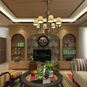 欧式简约风格客厅石膏线效果图