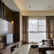 三室一厅后现代风格客厅皮制沙发装饰