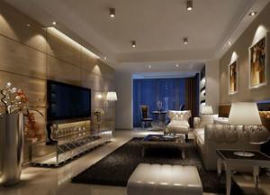 100平米冷色强烈对比的后现代风格客厅装修效果图