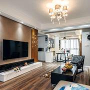 三室一厅简约风格客厅电视背景墙装饰