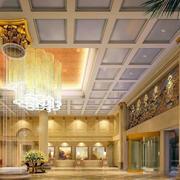 欧式风格饭店大堂石膏板吊顶装饰