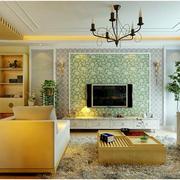 韩式风格样板房客厅电视背景墙装饰