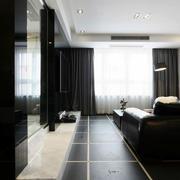 后现代风格黑色客厅地板效果图