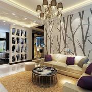 公寓自然清新风格沙发背景墙装饰