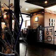 后现代风格简约料理店前台吊顶