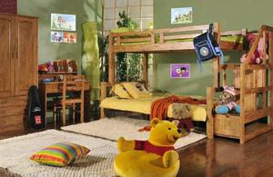 儿童房原木双人床装饰