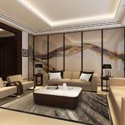 后现代风格客厅山水画样式隔断