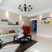 三室两厅后现代风格客厅沙发墙装饰