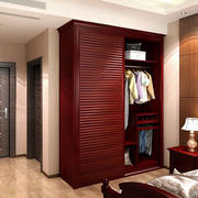 卧室简约风格深色系原木衣柜装饰