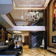 欧式风格跃层奢华客厅电视背景墙装饰