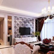 别墅简约风格印花客厅背景墙装饰