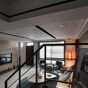 跃层简约风格客厅吊顶装饰