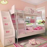 简约粉色系儿童房上下铺装饰