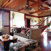 美式原木客厅样板房装饰