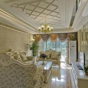 欧式田园风格客厅石膏板吊顶