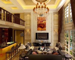 欧式复式楼客厅吊顶装饰