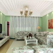 韩式清新风格客厅石膏线装饰