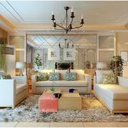 美式简约风格客厅样板房装饰