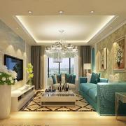 欧式奢华风格客厅淡蓝色沙发装饰