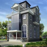 整体式别墅灰色系外观图