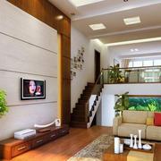 跃层简约风格电视背景墙装饰