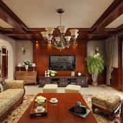 美式风格原木系客厅装饰