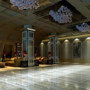 欧式风格饭店大堂罗马柱装饰