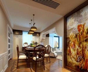 120平米欧式简约风格餐厅背景墙装饰
