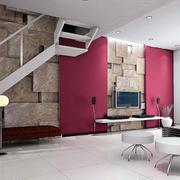 复式风格室内简约电视背景墙装饰