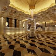 简欧风格大型饭店大堂地板装饰